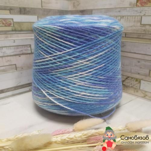 Пряжа sock printing 520 (сине-бело-голубой)