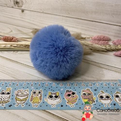 Аксессуары для одежды и обуви Помпон из искусственного меха (кролик), d-8cм 1 шт (A т.голубой)