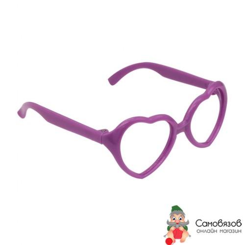 Аксессуары для кукол Очки без стекла, 26503 пластик, сердце, 7,5 см, 1шт цв.фиолет